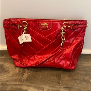 NWT Coach pink patent leather chain purse